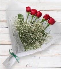 5 kırmızı gülden sade buket  İstanbul Ümraniye çiçek yolla