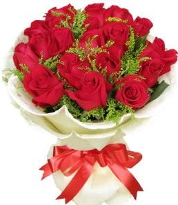 19 adet kırmızı gülden buket tanzimi  İstanbul Ümraniye çiçek servisi , çiçekçi adresleri