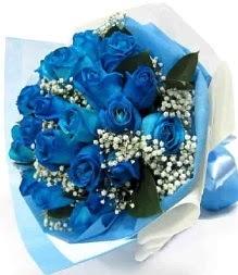 15 adet mavi gülden şahane eşsiz buket  İstanbul Ümraniye uluslararası çiçek gönderme
