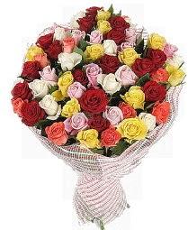 51 adet rengarenk gül buketi  İstanbul Ümraniye çiçek mağazası , çiçekçi adresleri