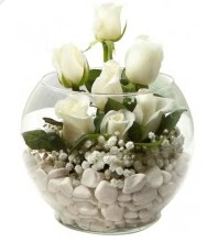 11 adet beyaz gül cam fanus çiçeği  İstanbul Ümraniye çiçek mağazası , çiçekçi adresleri