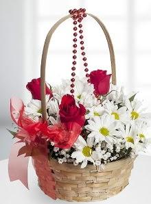sepette 3 gül ve krizantem çiçekleri  İstanbul Ümraniye çiçek satışı