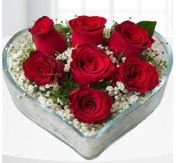 Kalp içerisinde 7 adet kırmızı gül  İstanbul Ümraniye çiçek servisi , çiçekçi adresleri