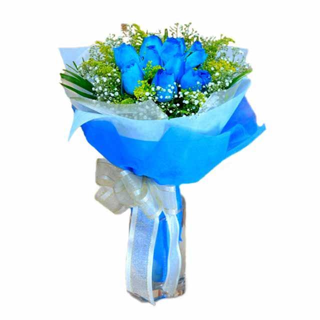 7 adet mavi gül buketi  İstanbul Ümraniye çiçek , çiçekçi , çiçekçilik