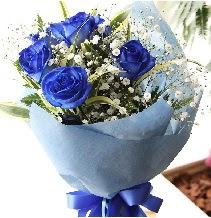 5 adet mavi gülden buket çiçeği  İstanbul Ümraniye çiçek satışı