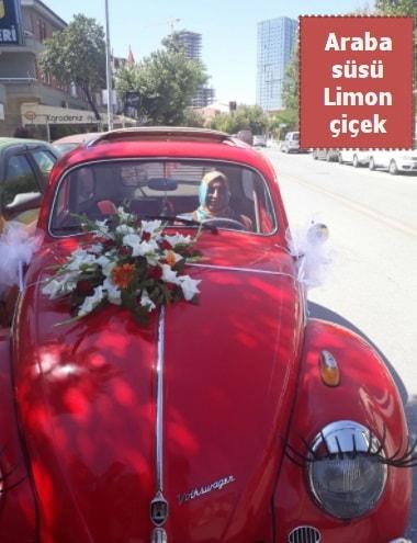 Gelin arabası süslemesi düğün arabası süs  İstanbul Ümraniye çiçek yolla