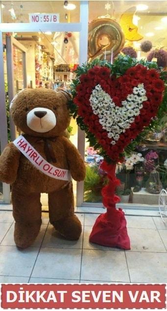1.5 Metre peluş ayı ve Kalp  İstanbul Ümraniye çiçek gönderme sitemiz güvenlidir