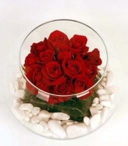 Cam fanusta 11 adet kırmızı gül  İstanbul Ümraniye çiçek gönderme