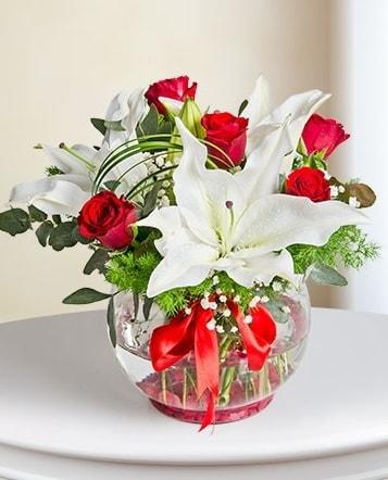 Fanus Vazoda 2 Lilyum ve 5 Gül Dansı  İstanbul Ümraniye çiçek gönderme