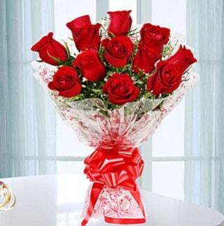 11 adet kırmızı gülden görsel şık buket  İstanbul Ümraniye ucuz çiçek gönder