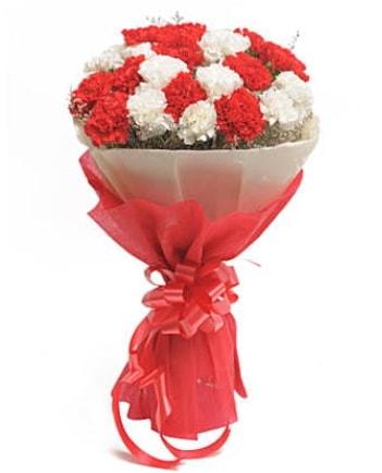 21 adet kırmızı beyaz karanfil buketi  İstanbul Ümraniye çiçek satışı