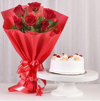 6 Kırmızı gül ve 4 kişilik yaş pasta  İstanbul Ümraniye çiçek , çiçekçi , çiçekçilik