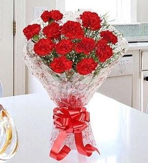 12 adet kırmızı karanfil buketi  İstanbul Ümraniye İnternetten çiçek siparişi