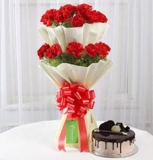 20 adet kırmızı karanfil buketi ve yaş pasta  İstanbul Ümraniye çiçek gönderme sitemiz güvenlidir