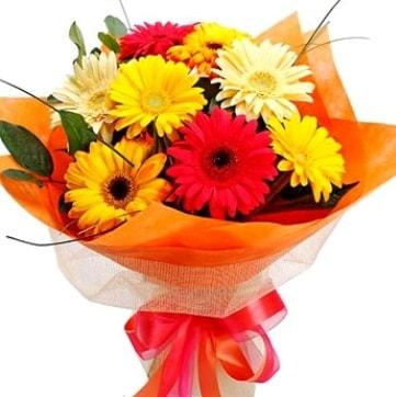 9 adet karışık gerbera buketi  İstanbul Ümraniye çiçek , çiçekçi , çiçekçilik