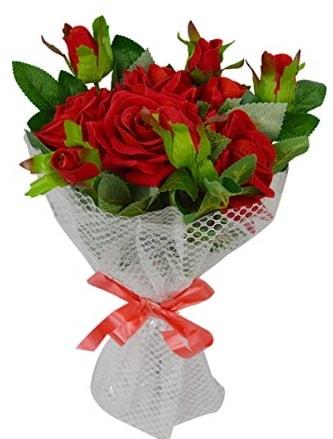 9 adet kırmızı gülden sade şık buket  İstanbul Ümraniye çiçekçi telefonları