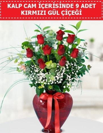 Kırmızı kalp camda 9 kırmızı gül  İstanbul Ümraniye çiçek satışı