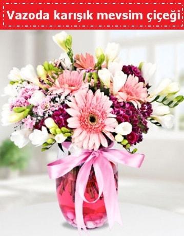 Vazoda karışık mevsim çiçeği  İstanbul Ümraniye çiçek , çiçekçi , çiçekçilik