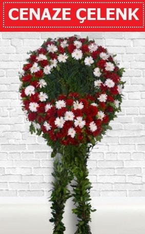 Kırmızı Beyaz Çelenk Cenaze çiçeği  İstanbul Ümraniye İnternetten çiçek siparişi
