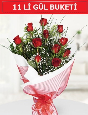 11 adet kırmızı gül buketi Aşk budur  İstanbul Ümraniye çiçek gönderme sitemiz güvenlidir