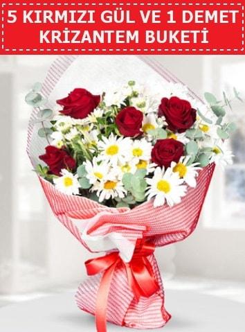 5 adet kırmızı gül ve krizantem buketi  İstanbul Ümraniye çiçek satışı