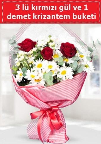 3 adet kırmızı gül ve krizantem buketi  İstanbul Ümraniye çiçek gönderme sitemiz güvenlidir
