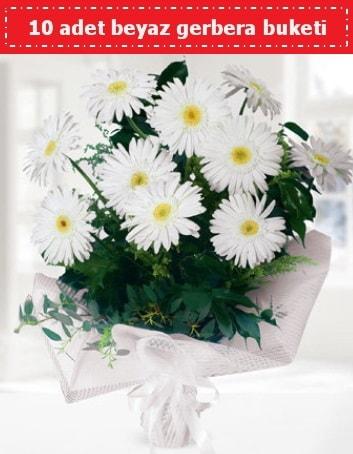 10 Adet beyaz gerbera buketi  İstanbul Ümraniye çiçek , çiçekçi , çiçekçilik