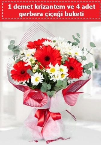 Krizantem ve Gerbera Buketi  İstanbul Ümraniye çiçek siparişi sitesi