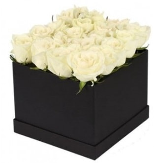 Kare kutuda 19 adet beyaz gül aranjmanı  İstanbul Ümraniye çiçekçi telefonları
